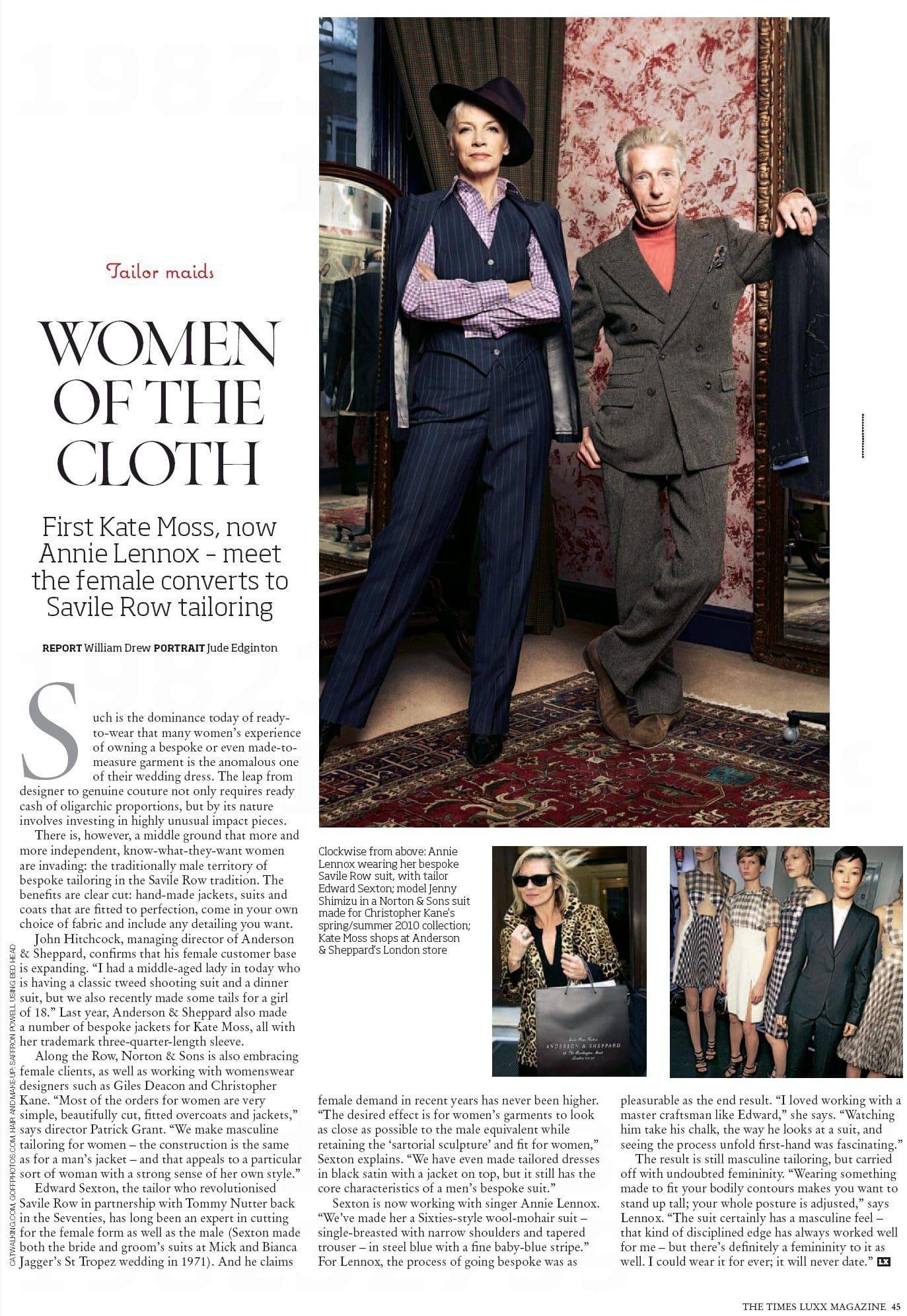Edward Sexton and Annie Lennox in the Times Luxx Magazine