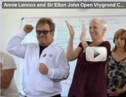 Video: Annie Lennox and Sir Elton John Open Vrygrond Community Center, South Africa