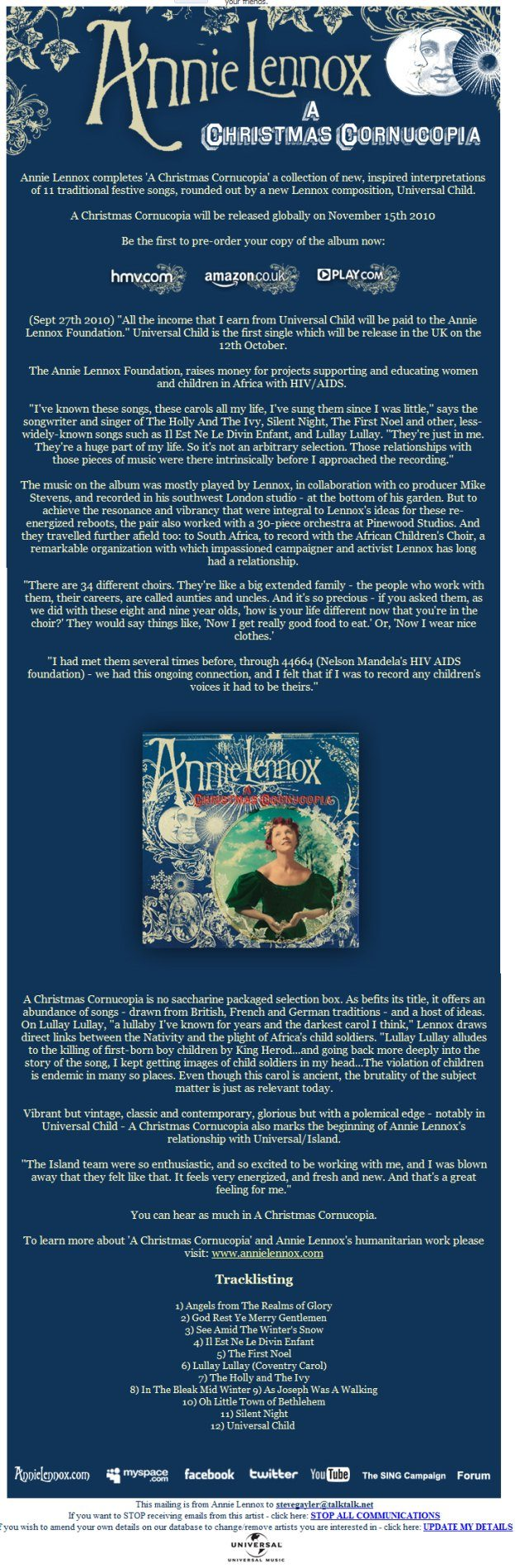 Annie Lennox – A Christmas Cornucopia Announcement From Universal