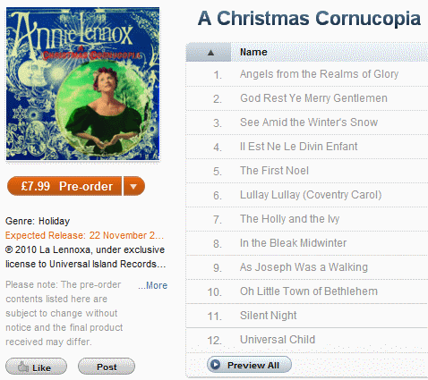 An Annie Lennox Christmas Cornucopia Sampler Preview on I-Tunes