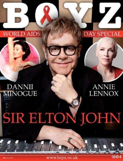 Annie Lennox and Elton John on the cover of Boyz Magazine