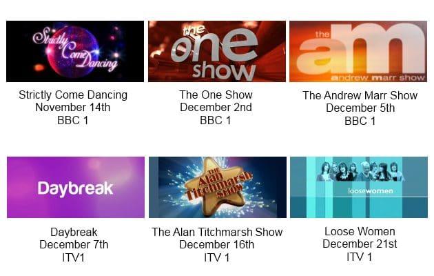 Annie Lennox UK TV Appearances Schedule