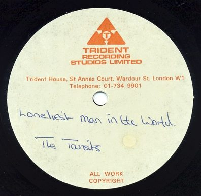 """Record Of The Week: The Tourists """"Loneliest Man In The World"""" 10″ Acetate"""