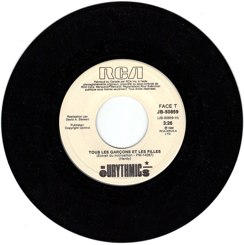 """Record Of The Week: Eurythmics """"Tous Les Garcons"""" 7″ From Canada"""