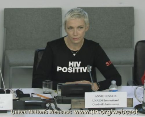 Annie Lennox In New York : HIV Priorities for Positive Change: In Women's Words at UN Headquarters.