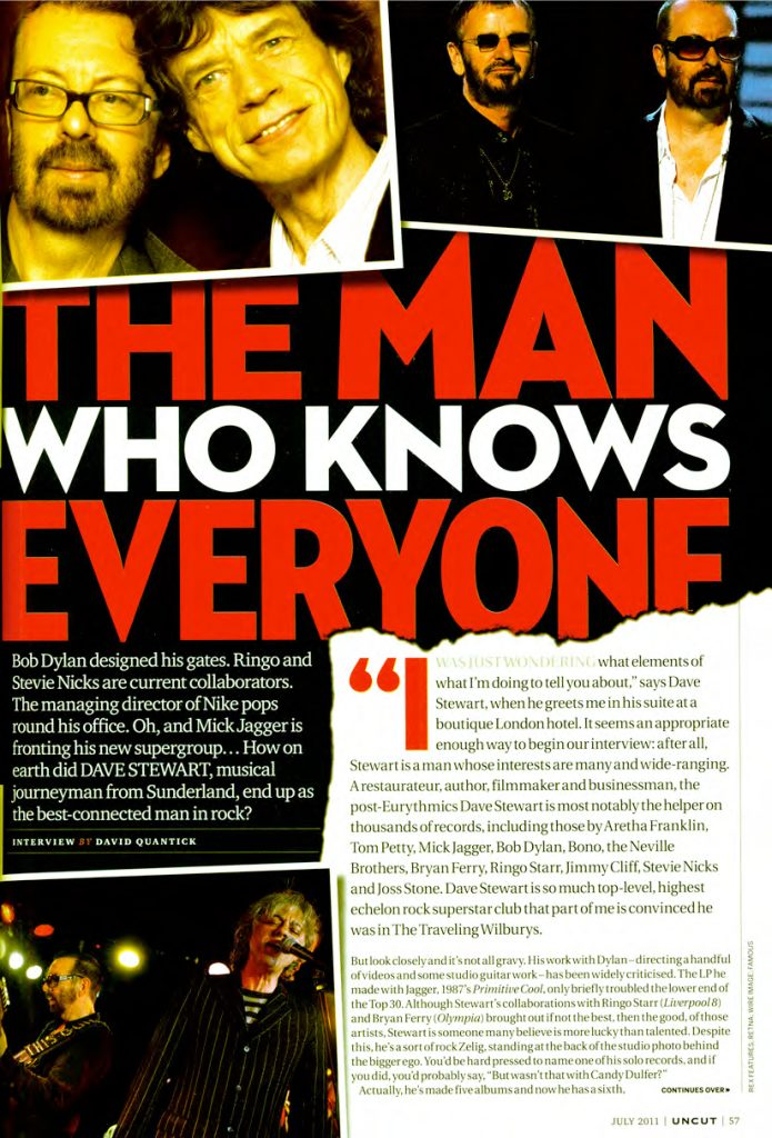Dave Stewart In 4 Page Feature in Uncut Magazine