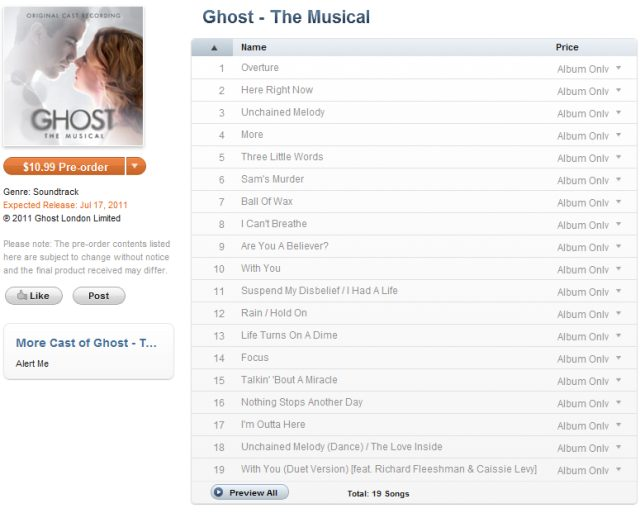 Ghost The Musical Cast Recording By Dave Stewart Track List And Preview