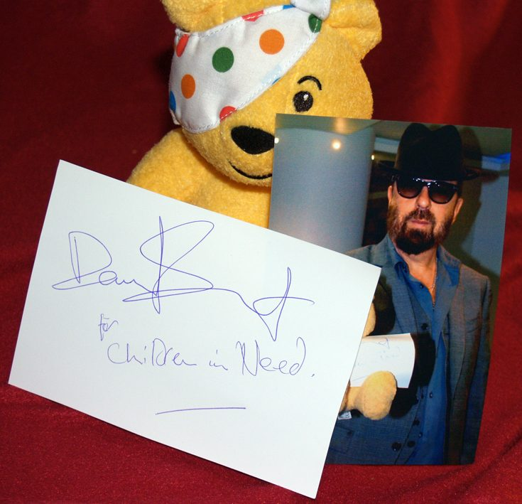 Dave Stewart Supports Children In Need Calendar And Autographed Pudsey Bear