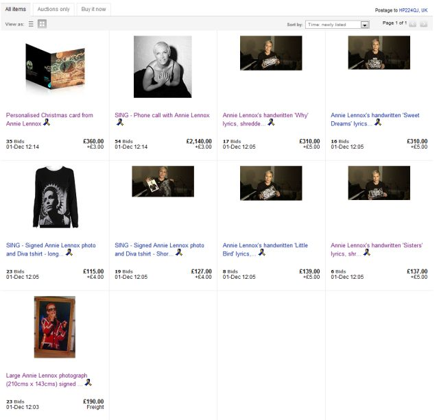 Less Than Three Hours Left To Bid On Annie Lennox's SING 2011 eBay Auction