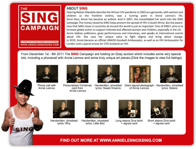 Support The Annie Lennox Sing Campaign eBay Auction