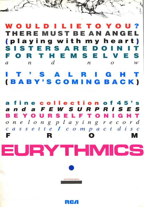 Advert Of The Week: Eurythmics Would I Lie To You