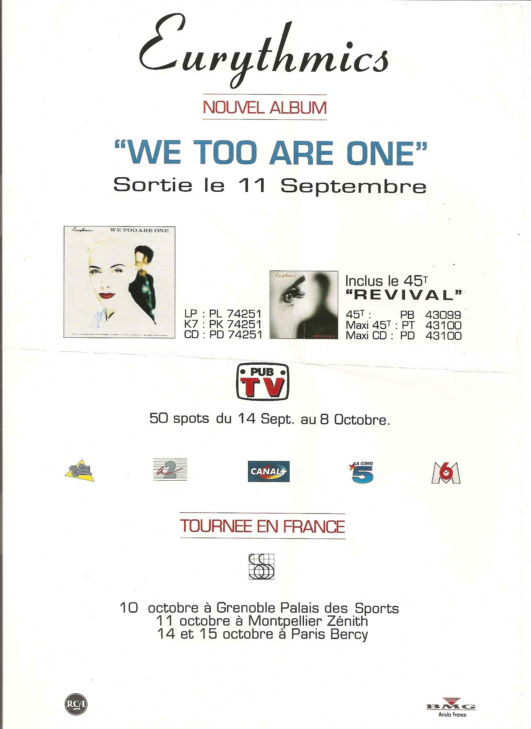 Advert Of The Week: Eurythmics We Too Are One French Advert