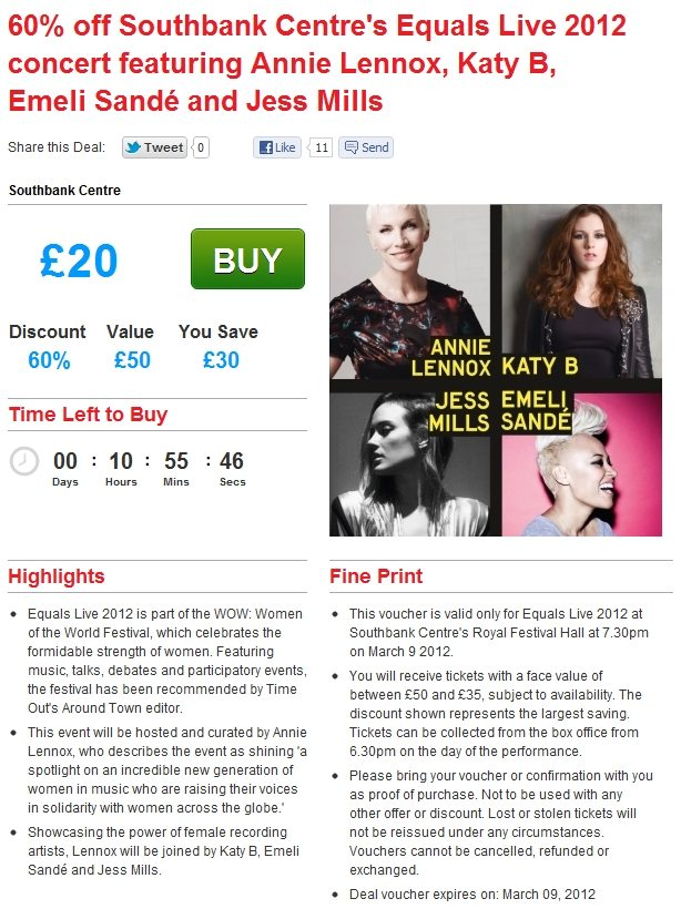 Time Out Offers 60% Discount On Equals Live Tickets With Annie Lennox