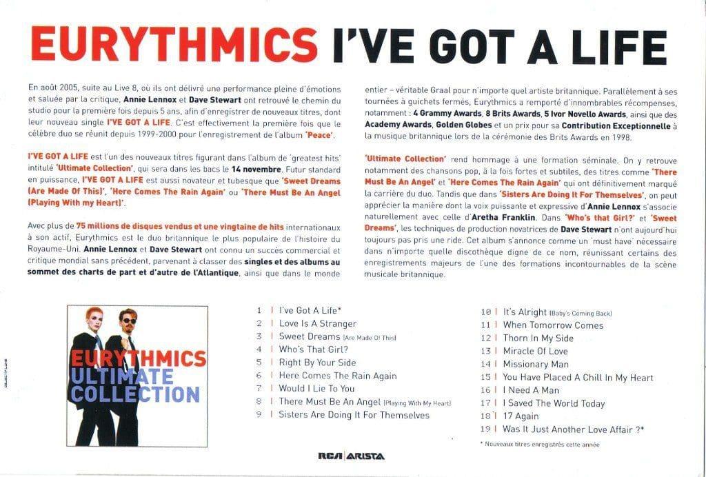 eurythmics ive got a life french promo postcard 2 ultimate eurythmics
