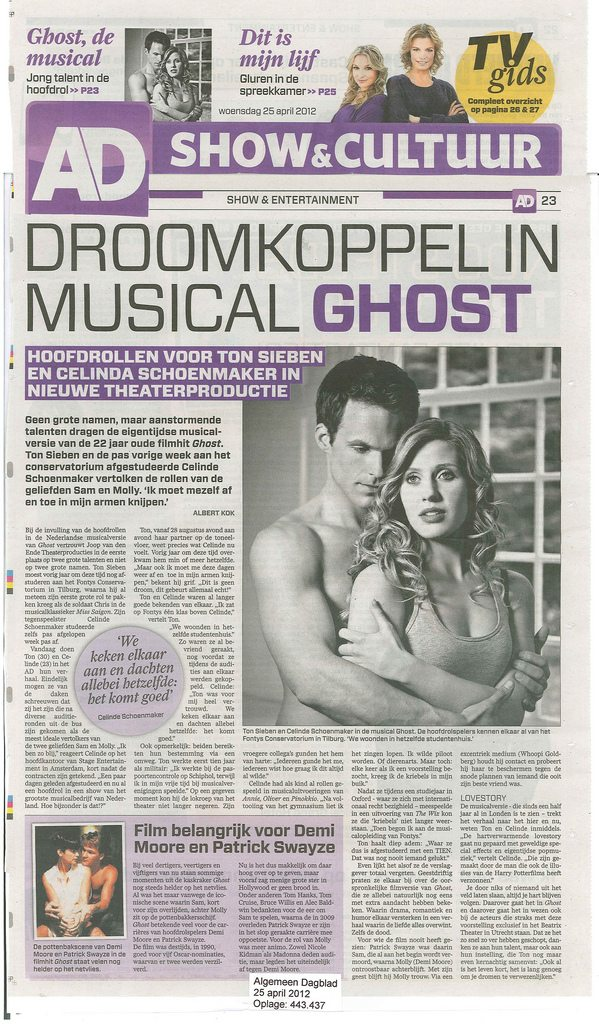 Ghost The Musical Welcomes Celinde Schoenmaker And Ton Sieben As The Dutch Molly And Sam