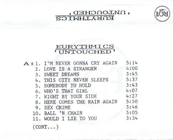 Record Of The Week: Eurythmics Rare Internal Promo Cassette For Untouched (Live 1983 – 1989)