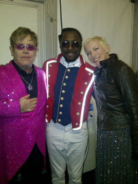Annie Lennox, Will I Am & Elton John Backstage At The Jubilee Concert