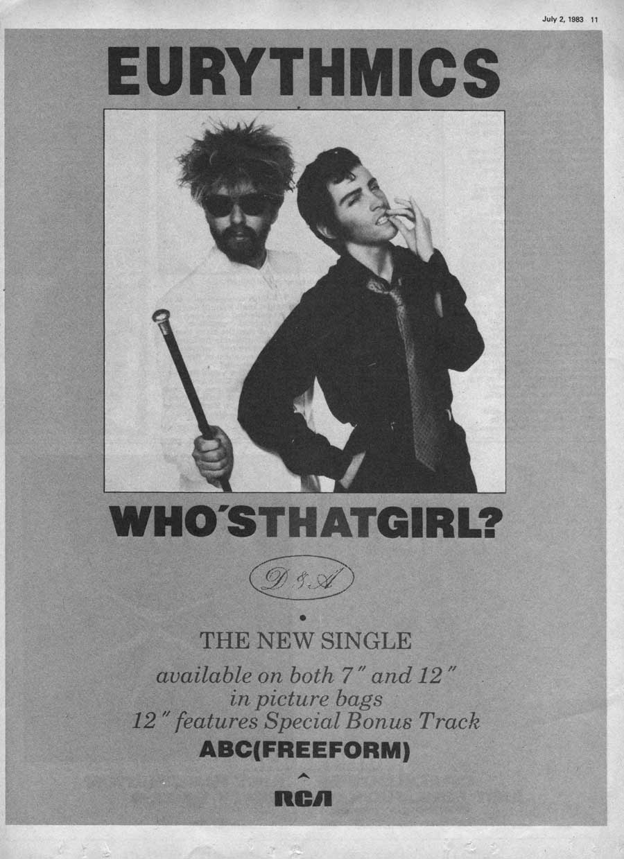 Advert Of The Week: Eurythmics – Whos That Girl Full Page Advert.