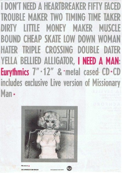 Eurythmics: Savage25: Advert For I Need A Man With Lyrics From The Single