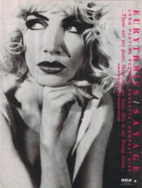 Eurythmics: Savage25: Advert For Savage In Black And White And Pink