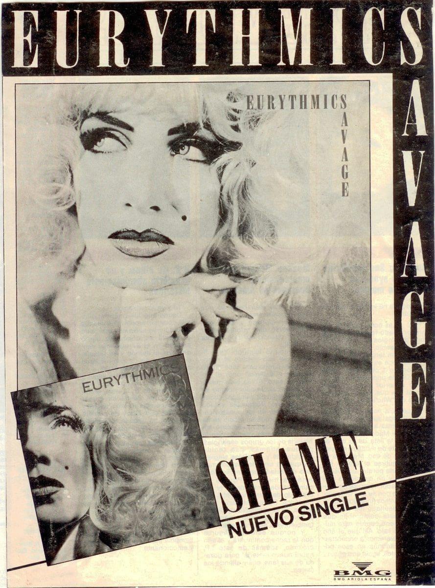 Eurythmics: Savage25: Spanish Advert For Savage And Shame