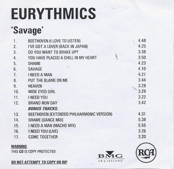Eurythmics: Savage25: Rare Record – Savage Remasters – 2 Different Promo's