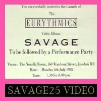 Eurythmics: Savage25: Video – Savage Launch Party On Wired