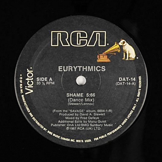 Eurythmics: Savage25: Rare Record – Candian 12″ Single For Shame With Printing Error