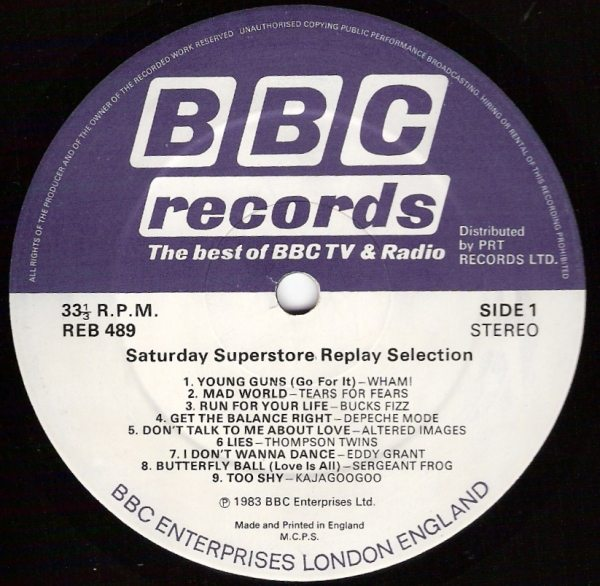 Collectable Record Of The Week: Eurythmics BBC transcription Disc from Saturday Superstore