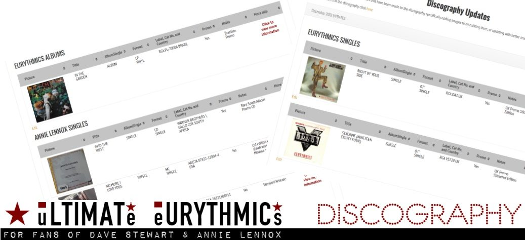 Ultimate Eurythmics Discography Updates And New Items for December 2013