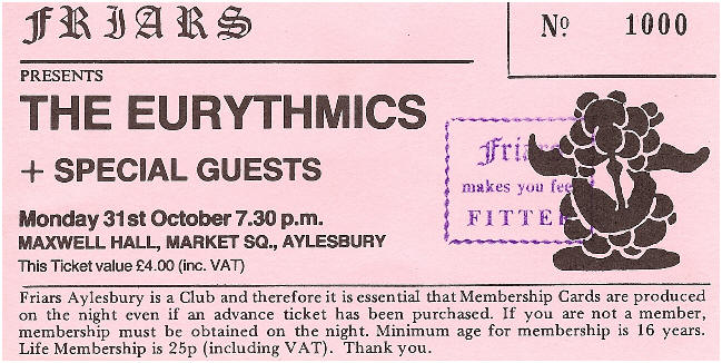 Eurythmics featured in The Evolution Of Friars 1969 – 2014 exhibition in Aylesbury