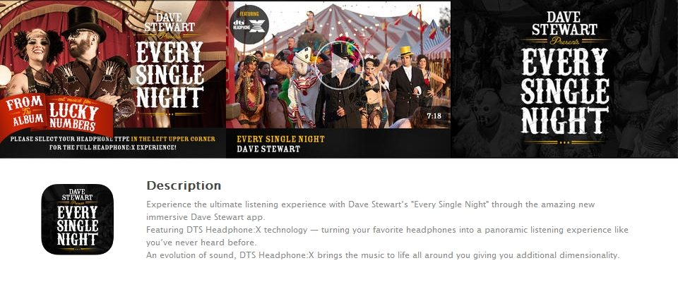 Dave Stewart has launched a new Every Single Night app experience 11.1 sound in your head
