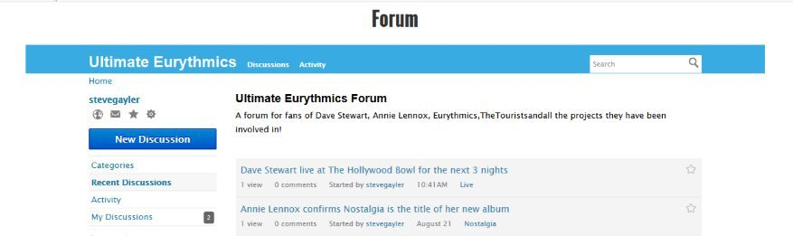 New Annie Lennox \ Dave Stewart \ Eurythmics Forum
