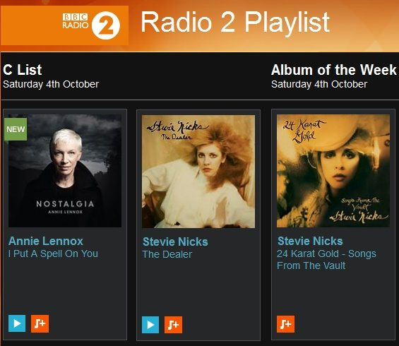 Both Annie Lennox and Dave Stewart with Stevie Nicks make it onto this weeks Radio 2 Playlist