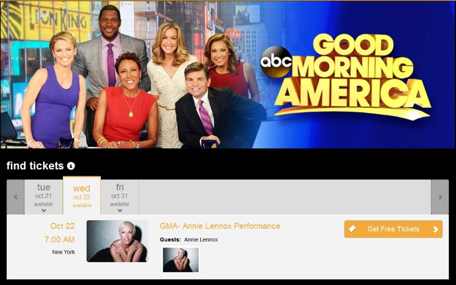 Book now for Annie Lennox's appearance on Good Morning America on 22nd October