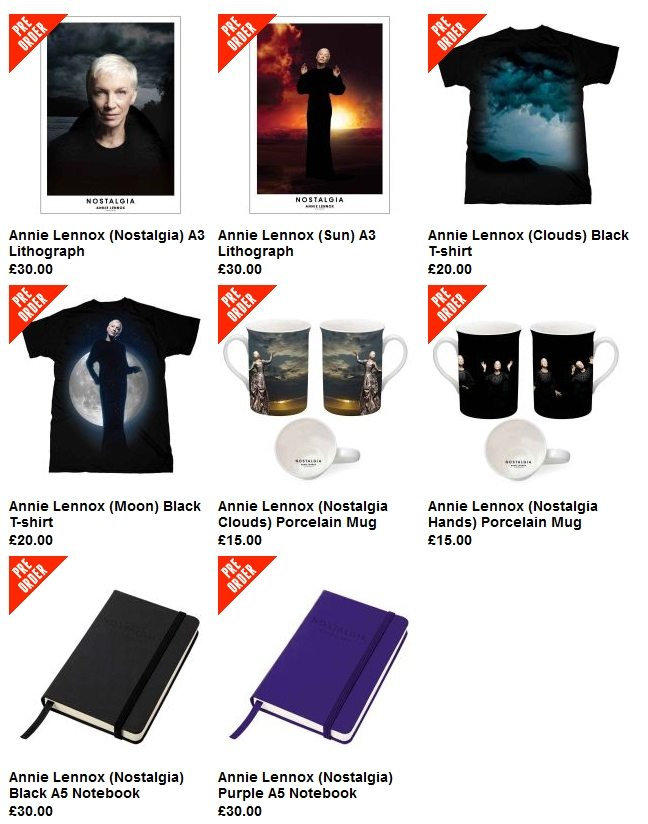 Just in time for your Xmas list ideas!  Pre-Orders are now being taken for new Annie Lennox Nostalgia items: T-Shirts, lithographs, mugs, notebooks and more!