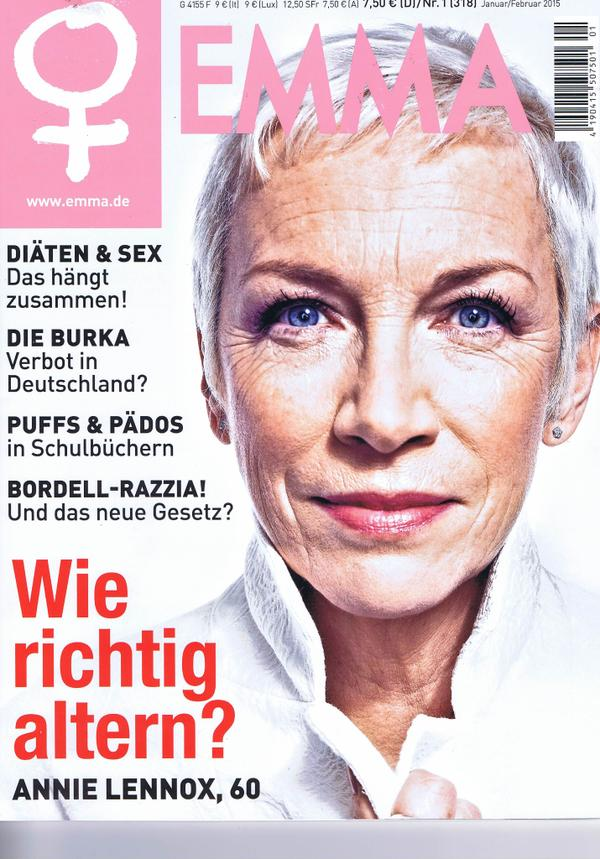 Annie Lennox featured on the January 2015 cover of German magazine Emma