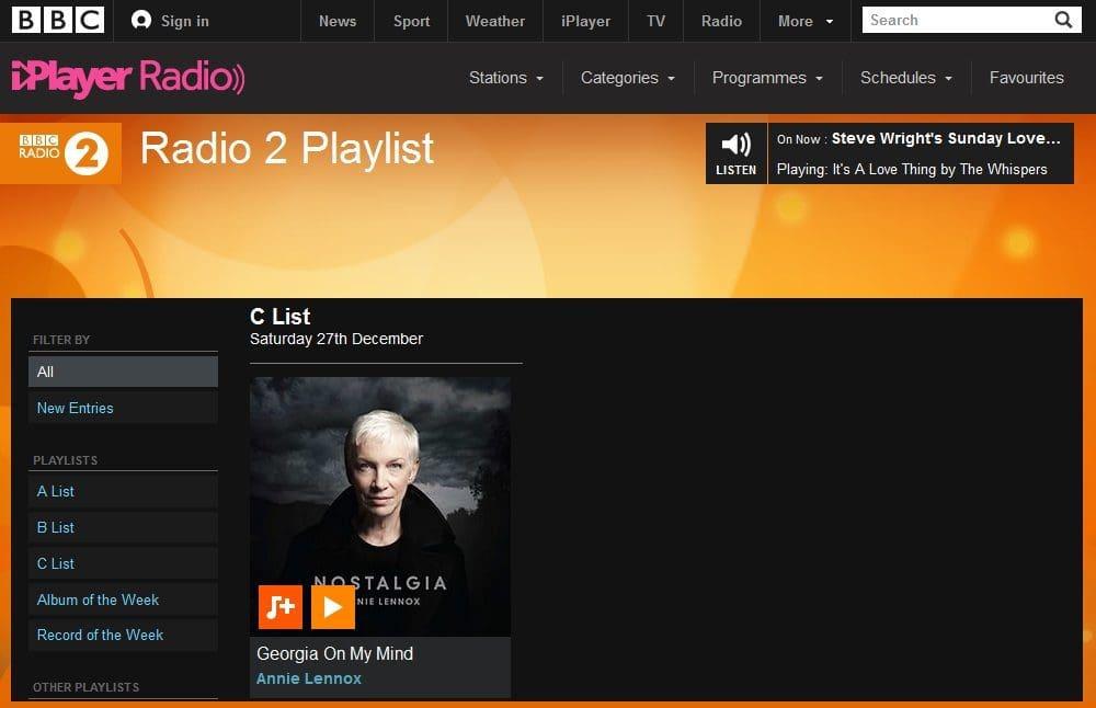 Annie Lennox's latest single Georgia On My Mind reamains on BBC Radio 2's Playlist for a second week.