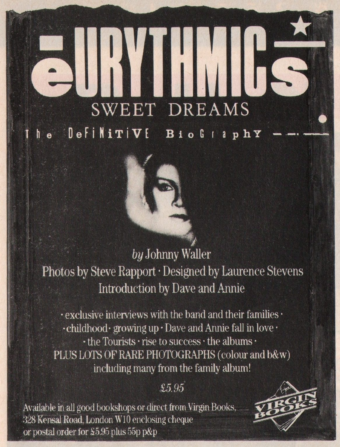 Eurythmics Memorabilia : Smash Hits advert for Eurythmics Definitive Biography published 30 years ago.