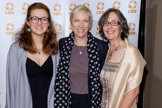 Annie Lennox with Helen and Laura Pankhurst at a London screening of Suffragette