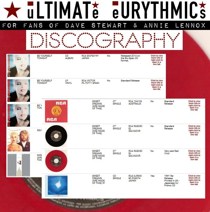 Ultimate Eurythmics Discography addition and updates
