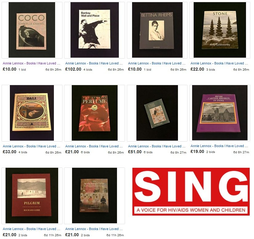 Annie Lennox launches a book auction to raise funds for women and children affected by HIV and AIDS.