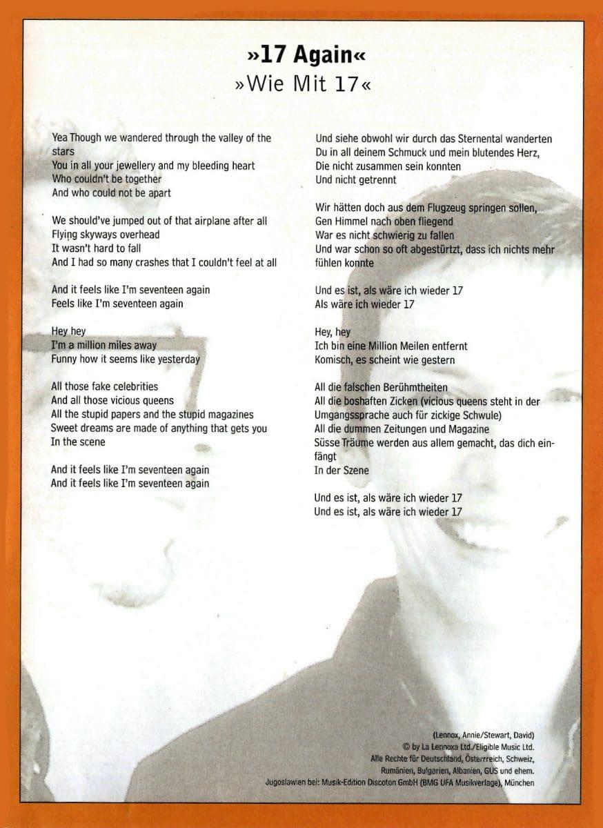 Eurythmics Memorabilia : Song Lyrics from Magazines - Ultimate ...