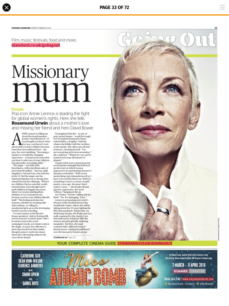 Missionary Mum – Annie Lennox's new interview with the London Evening Standard.
