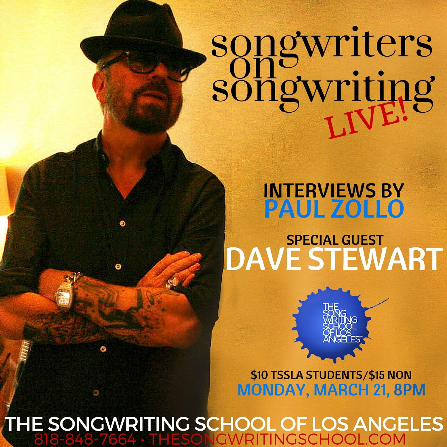 Dave Stewart to be interviewed by Paul Zollo at the Songwriting School in Los Angeles