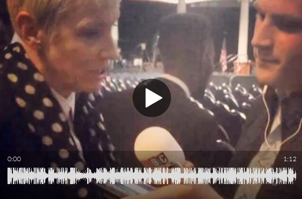 Annie Lennox spoke briefly to LBC Radio after attending Barack Obama's speech in London