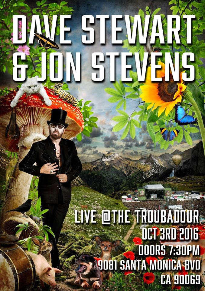 Dave Stewart and Jon Stevens will be performing Live at The Troubadour on October 3rd