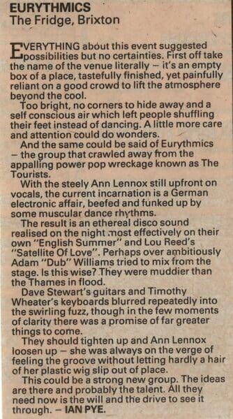 1981 12 16 Memorabilia Concert Review Eurythmics