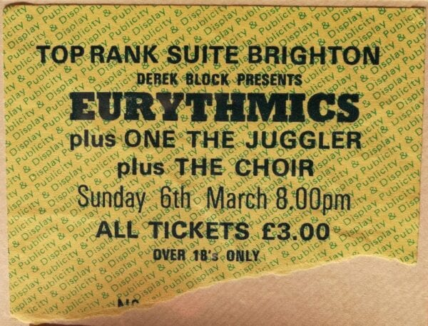 1983 03 06 Memorabilia Concert Ticket Eurythmics