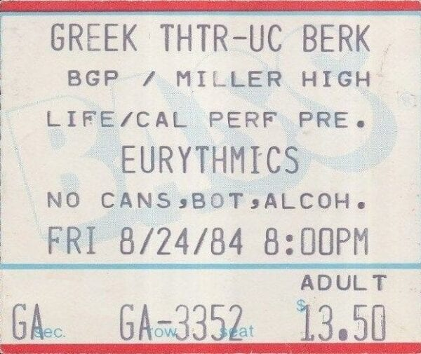 1984 08 24 Memorabilia Concert Ticket Eurythmics 1